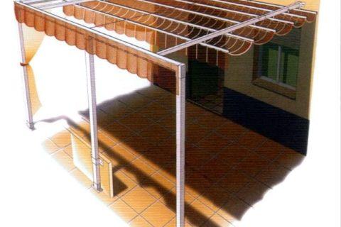 Toldo plano palilleria estructura simple